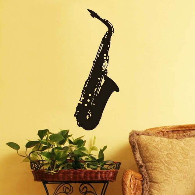 Modern Style Bedroom Saxophone Wall Decor Sticker Fashionable Black ...