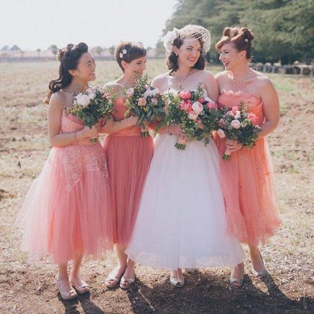 Estilo de país de color Coral dama de honor vestido de novia de ...