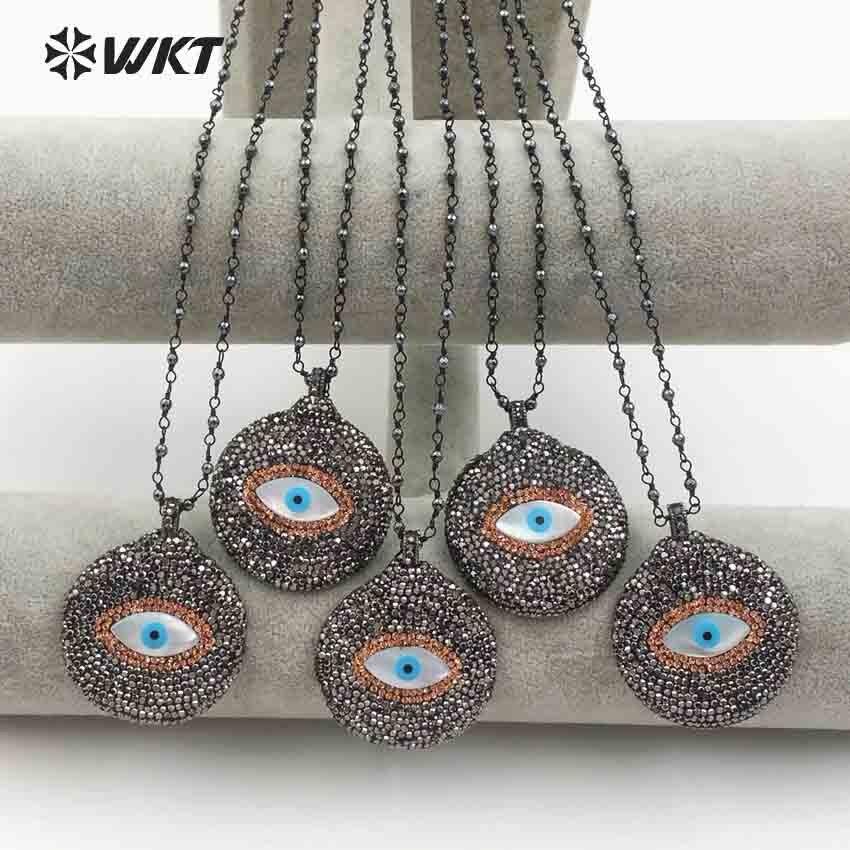 Collar femenino de moda WT NV214 WKT colgante de concha de ojo malvado con diamantes de imitación pavimentados en forma redonda de 18 pulgadas de hematita rosario cadena-in Collares colgantes from Joyería y accesorios    1
