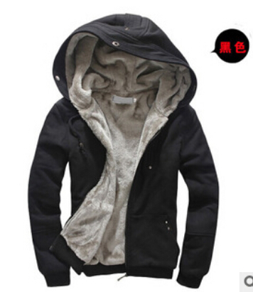 Mens hoodie thickened hair liner warm fashion casual Hoodie fashion jacket ...