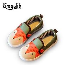 Девушки холст shoes весна осень мультфильм фокс распечатать работает кроссовки детей kids shoes мягкие и удобные плоские school shoes