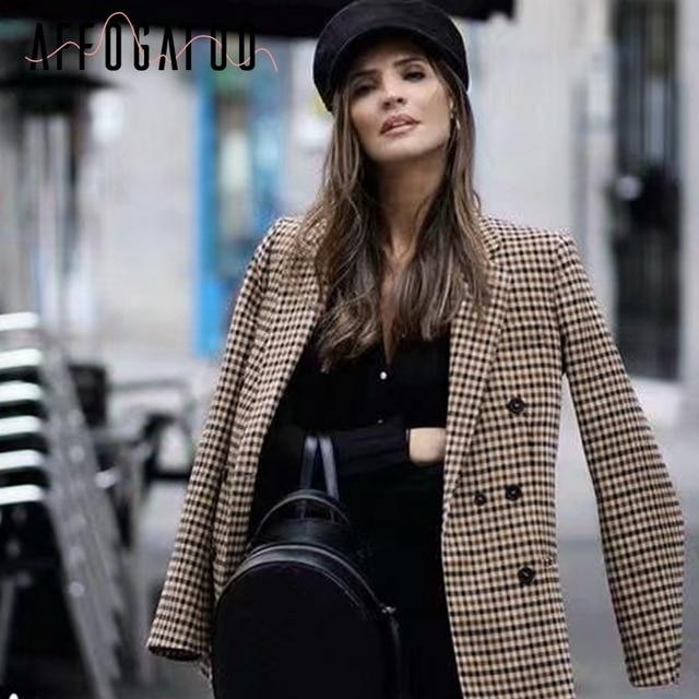 Affogatoo Fashion double breasted plaid blazer women Long sleeve slim OL blazer 2018 Casual autumn jacket blazer female 3