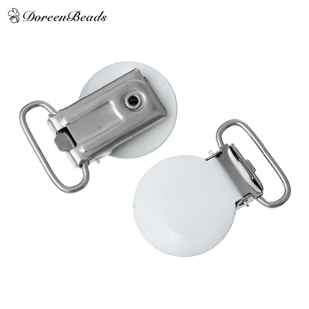 Wood Baby Pacifier Clips Plastic Alloy White Round with Metal Holders Kids Feeding 3.4cm x2.3cm(1 3/8