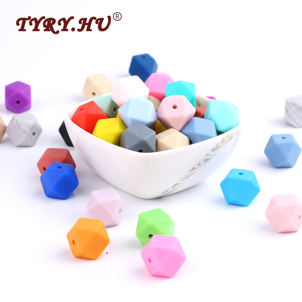 TYRY.HU 10pcs Loose Silicone Beads Pink Teething Crafts