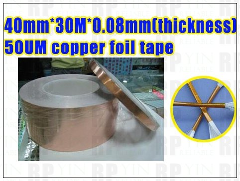 1x 40mm *30M *0.08mm(Thickness) Single Sided Conductive Acrylic Adhesive EMI Shield Copper Foil Tape Multitude Electronic Uses 1x 20mm 30m 0 06mm single sided conductive adhesive copper foil tape sticky for emi shield shielding mask masking soldering