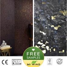 Черные золотые металлические пробковые обои для спальни звукопоглощающие обои из пробки 3D обои Роскошные натуральный материал безопасность