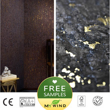 black with golden metallic cork SPA wallpaper