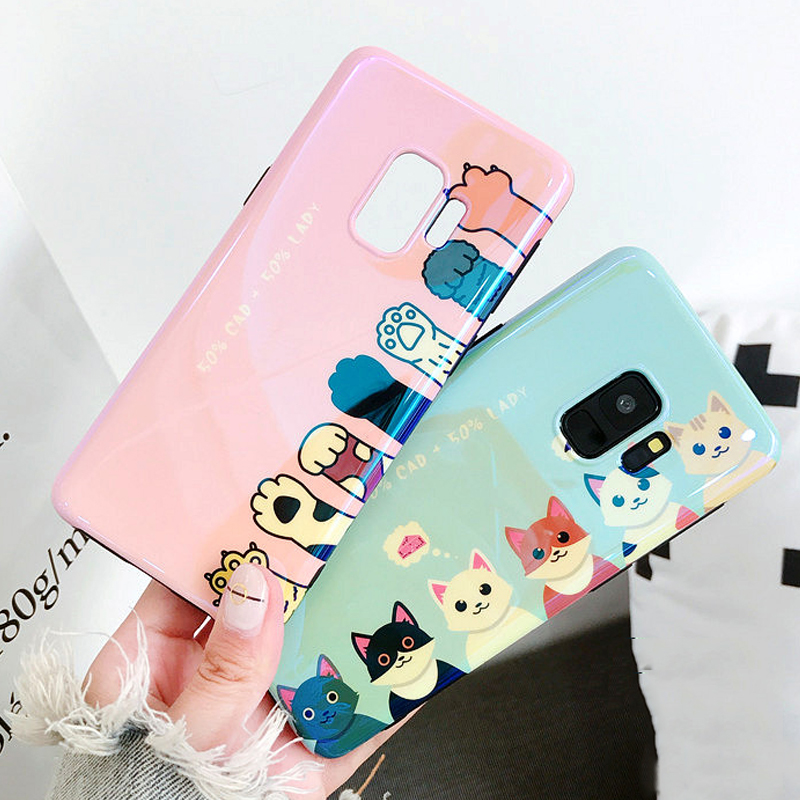 LOVECOM <font><b>Blu-Ray</b></font> Phone Case For Samsung Galaxy S7 Edge S8 S9 Plus Note8 Cute Laser Cat Claw Soft IMD Phone Back Cover Cases Coque