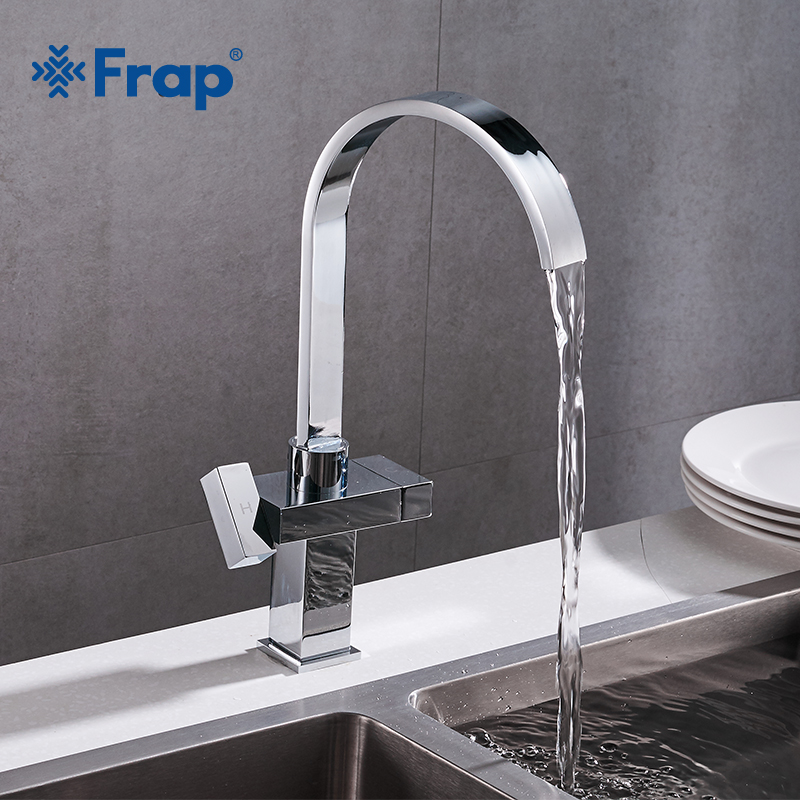 цены Frap Hot and Cold Water Kitchen Faucet Deck Mounted Mixer Tap Dual Holder Single Hole Waterfall Kitchen Sink Mixer Taps Y40023