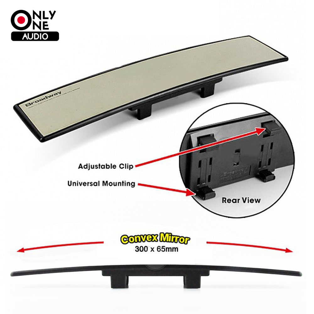 ONLY ONE AUDIO Untra Thin Universal 300mm Wide Convex Auto Interior Mirrors Clip On Car Vehicle