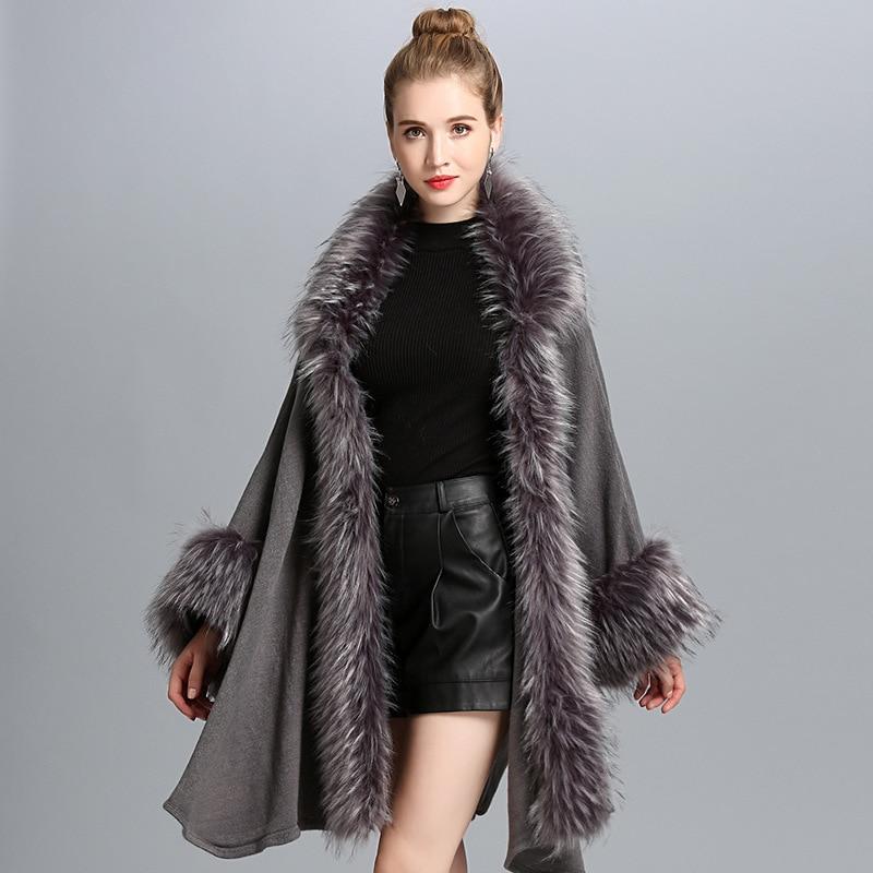 2018 Winter New Occident Style Women Fashion Fur Coat Cloak Loose Luxury Cashmere Poncho Cape Shawl Fur Cardigan Sweater
