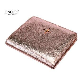 bf8119064 Nueva llegada de cuero genuino de las mujeres de la pequeña cartera de  patrón Slim cartera corto compacto bi-fold con cremallera bolsillo monedero  mini de ...
