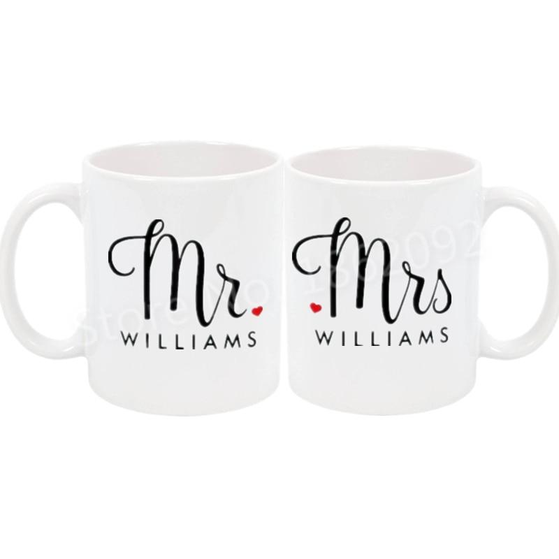 Set Of 2 Mugs Personalised Mr and Mrs Coffee Cups Wedding Mug Engagement Gift-DA