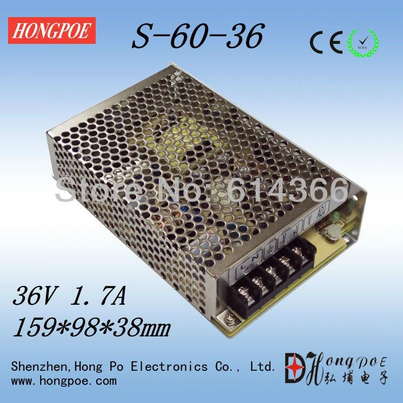 1PCS 36V 1.7A 60W Switching Power Supply 36V1.7A Driver for LED Strip AC 100-240V Input to DC 36V S-60-36 1pcs 75w 36v power supply 36v2a led driver 36v 2a power supply 36v 75w s 75 36