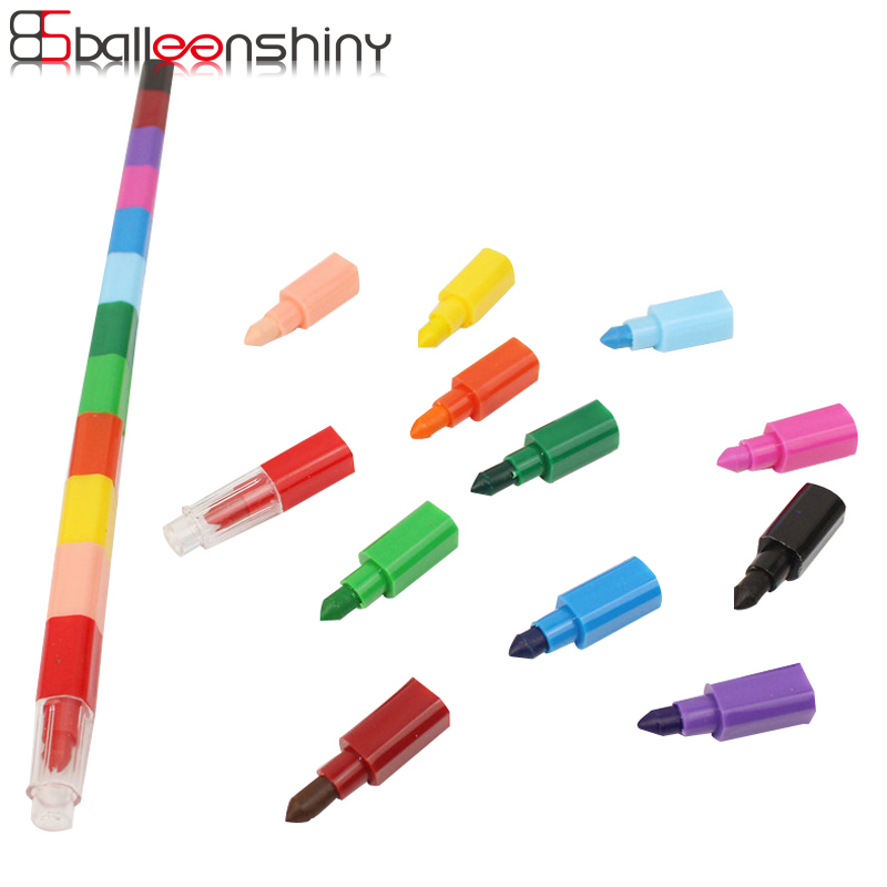 BalleenShiny 12 Colors Baby Drawing Crayons Colorful Oil Paint Pen Children Kids Creative Blocks Crayons Painting Supplies Gift