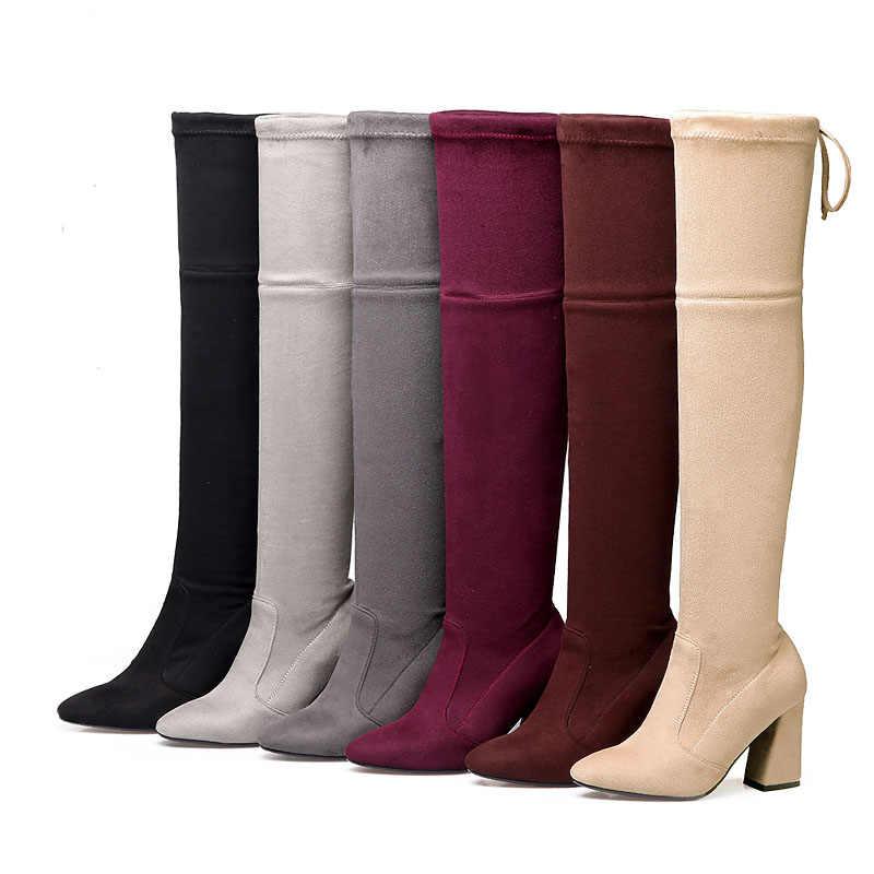 KemeKiss femmes cuissardes mode Stretch femme chaussures talons hauts femme sur genou bottes livraison directe chaussures taille 33-46