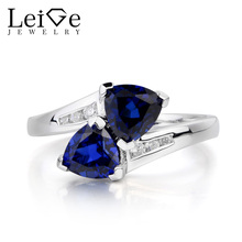 Leige Jewelry Proposal Ring Blue Sapphire Ring September Birthstone Trillion Cut Blue Gemstone Solid 925 Sterling Silver Ring