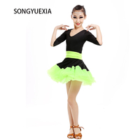 2017 New Pattern Children Lading Dance Skirt Summer Latin Dance Practice Dress Girl Woman Stage Dancewear