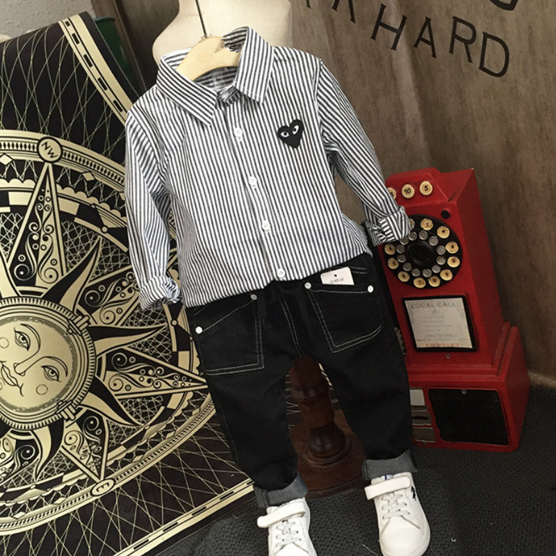 Warm clothes Pants for the boys Children's jeans Boy striped shirt&Casual jeans Boys jeans New wild baby shirts Trend boys john boyne the boy in the striped pyjamas