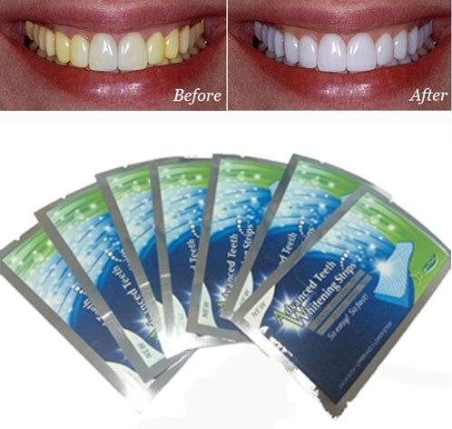 7 Pares Novos Dentes Branqueamento Tiras De Gel Clareador Dental