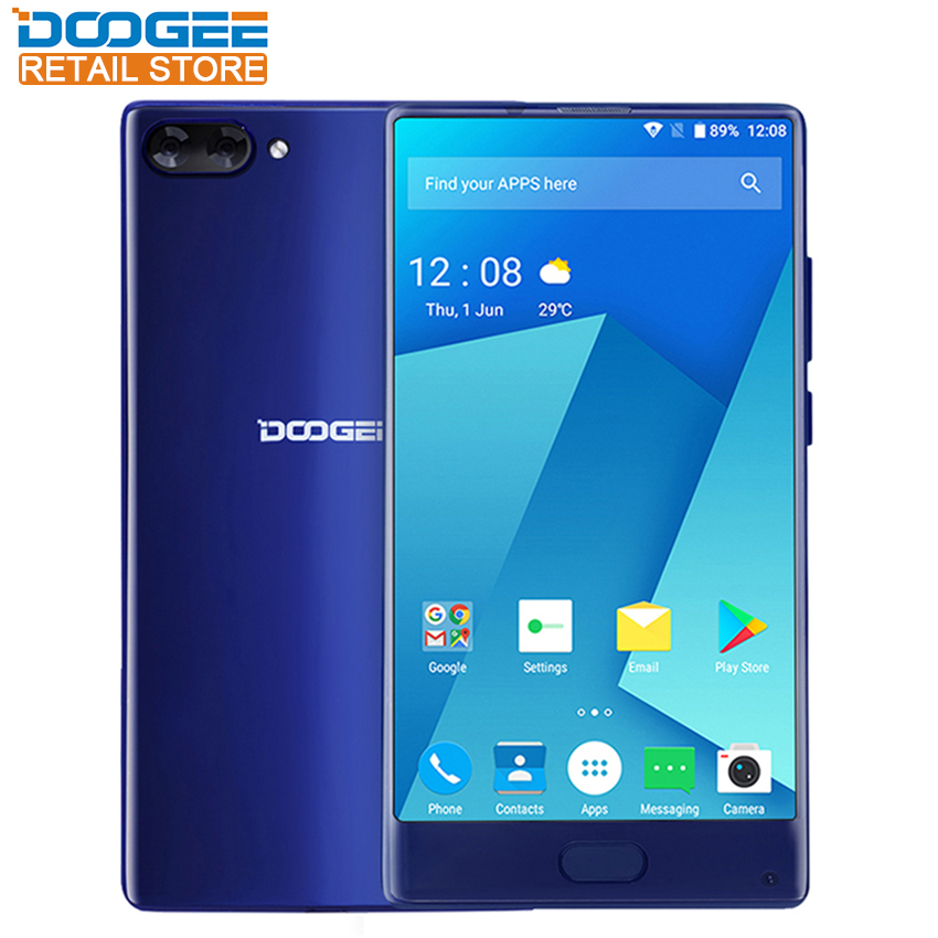Doogee Mix 4G Bezel-less Mobile Phone Android 7.0 Helio P25 Octa Core 6GB RAM 64GB ROM 16MP Dual Camera Fingerprint ID CellPhone