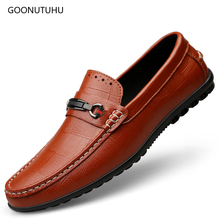 Men's casual shoes breathable slip-on loafers man shoes leather genuine fashion shoe driving platform shoes for men big size 12