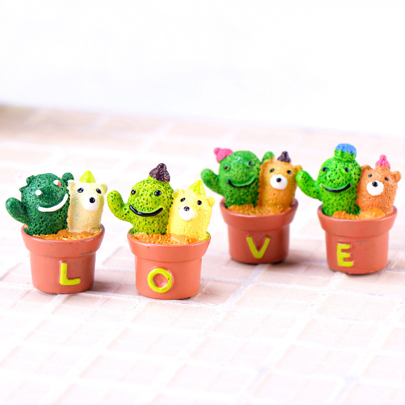 4pcs set LOVE Cactus Model Potted Plant action Figure Miniature Figurine Fairy home Garden Wedding Doll Decoration Girl toy gift in Action Toy Figures from Toys Hobbies