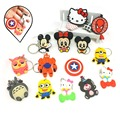 Anime cute Cartoon PVC Keychain Silicone captain Marvel owl KT Key Cover For Women bunny key chain keyring phone straps chain