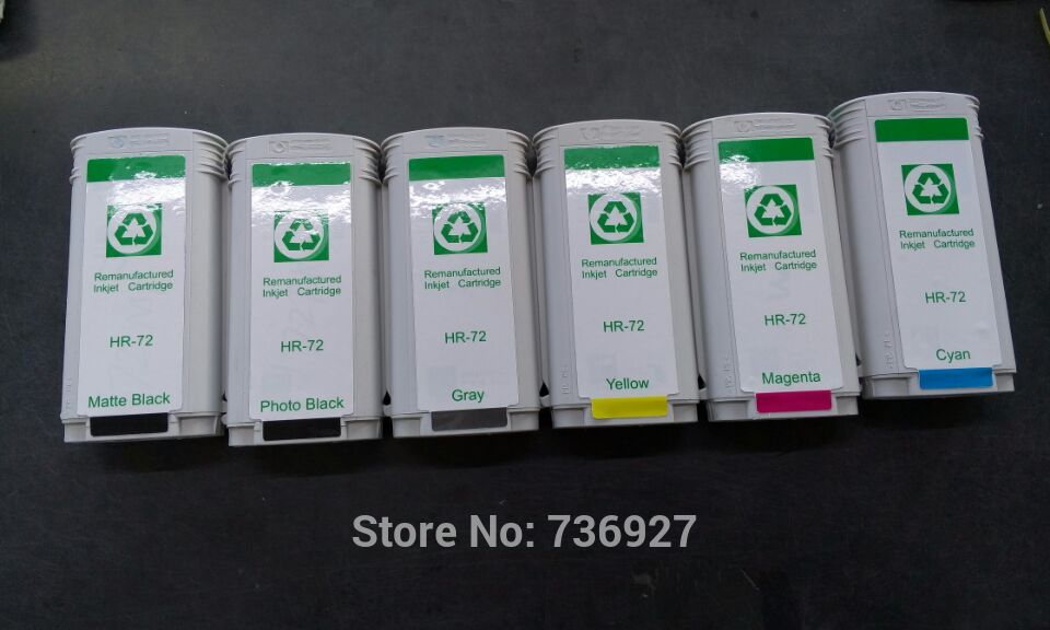 6PK C9403A C9370A C9371A C9372A C9373A C9374A Remanufactured ink cartridge for hp 72 ,for designjet T1120 T1200 T770 T2300 картридж hp pigment ink cartridge 72 yellow c9373a