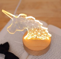 LED Unicorn Luminous Atmosphere Light With USB , And Office 3D Table Decoration Night Light