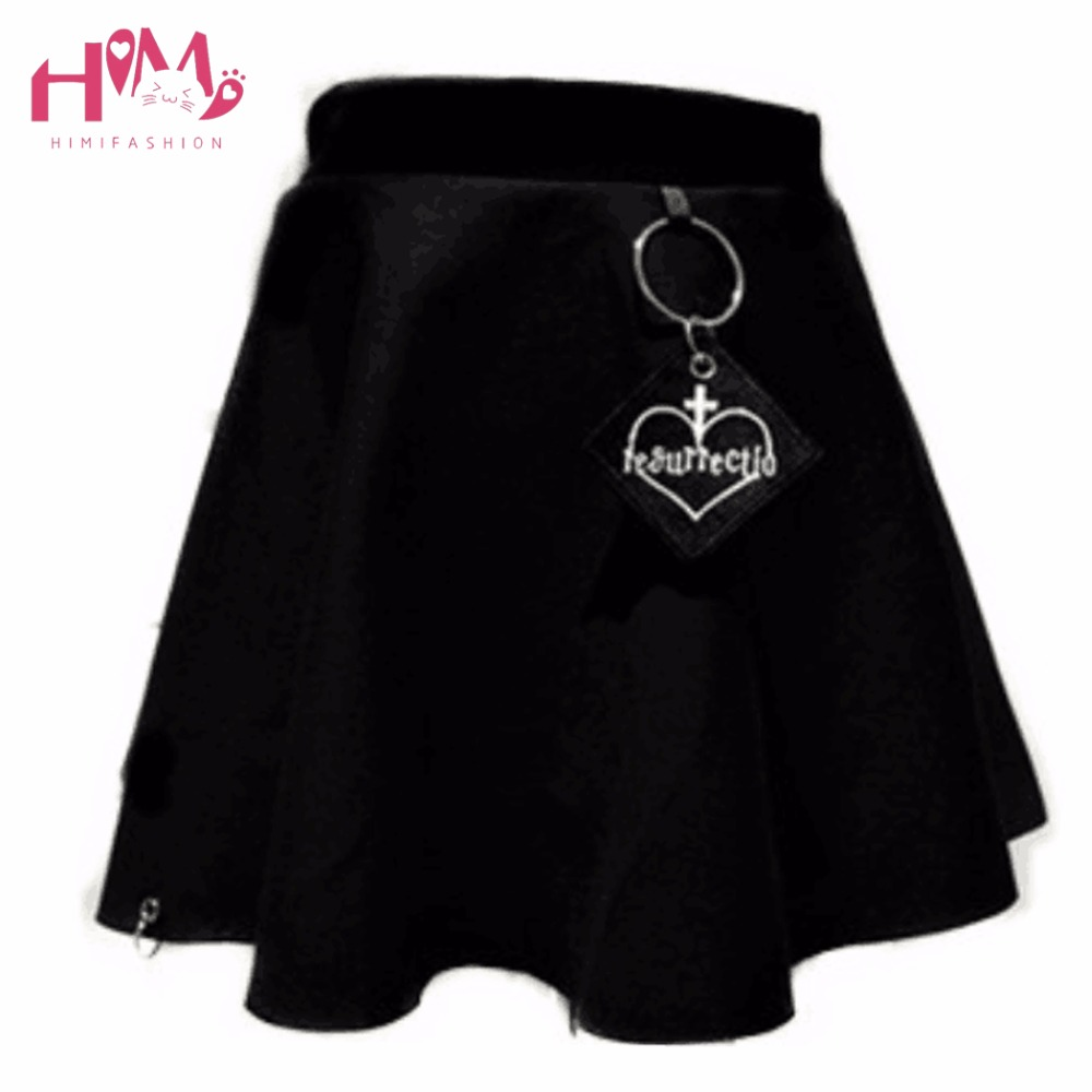 Dark Harajuku Summer Skirt For Women 2017 Hard Sister High Waist A-Line Black Mini Skirts Embroidered Heart Cross With Ring