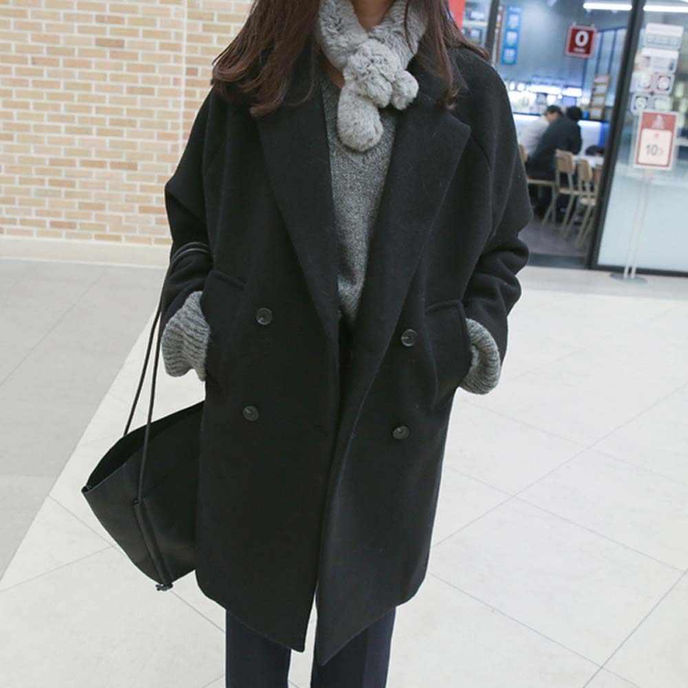Herfst winter Fashion vrouwen jassen Casual Jassen Met Lange Mouwen Blazer Uitloper Vrouwelijke Elegante Wol double breasted Jas WDC1891