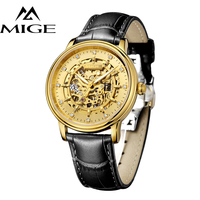 MIGE Men Watches Top Brand Luxury Luminated Skeleton Mechanical Watches 50m Waterproof Cowhide Leather Strap Butterfly