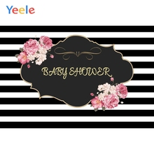 Yeele Black White Stripes Flowers Baby Shower Party Photography Backgrounds Customized Photographic Backdrops For Photo Studio