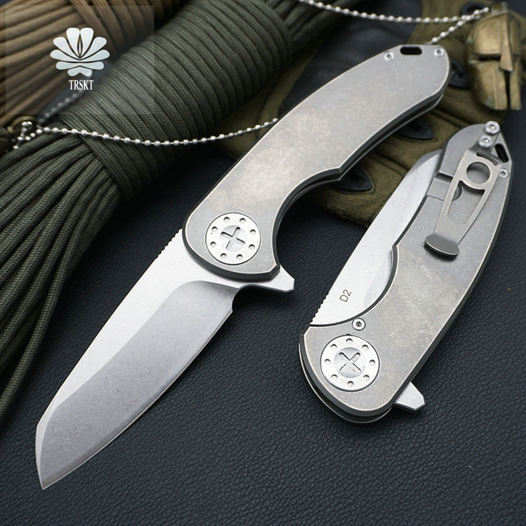 Trskt F3 Survival knife D2 Steel Stone Wash Blade ,60HRC,TC4 Handle Pocket Knife Hunting Camping Knives Folding Outdoor Tool