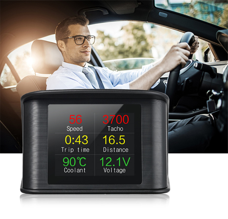 HUD-P10 Automobile Trip On-board Computer Car Digital OBD2 And EUOBD Port Driving Computer Display Speedometer Temperature Gauge