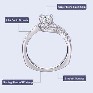 Image 5 - Женское кольцо для помолвки Newshe, белое, круглое, однотонное, 925 пробы, серебряное, 1R0023