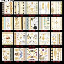 Nu-TATY  120PCS/lot Gold style Temporary 3D Makeup Tattoos Henna Tatuagem Body Art Tatoo Flash Sticker Swimsuit Makeup Tool