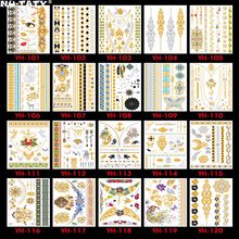 Nu-TATY 120PCS/lot Gold style Temporary 3D Makeup Tattoos Henna Tatuagem Body Art Tatoo Flash Sticker Swimsuit Makeup Tool