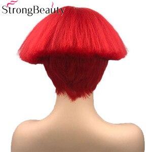 Image 4 - StrongBeauty קצר יקי ישר סינטטי פאות אדום/לבן/בלונדינית/שחור פטריות ראש פאה חום שיער עמיד