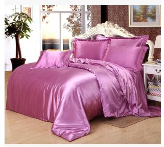Lilac light purple bedding sets Silk satin super king size queen full quilt duvet cover violet bed sheet fitted bedspreads 6pcs