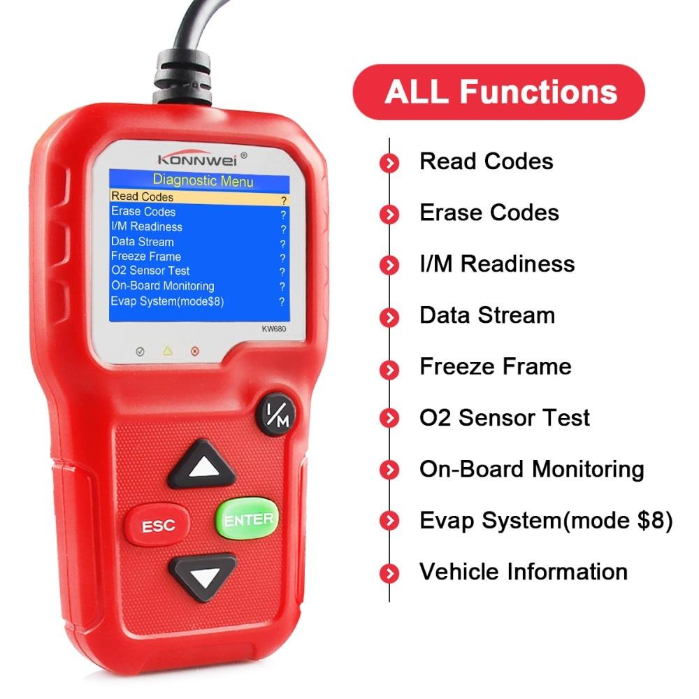 Image 3 - 100% Original OBD2 Scanner Automotive Scanner KONNWEI KW680 OBD 2 EOBD Car Diagnostic Scanner Fault Error Code Reader Scan Tool-in Code Readers & Scan Tools from Automobiles & Motorcycles