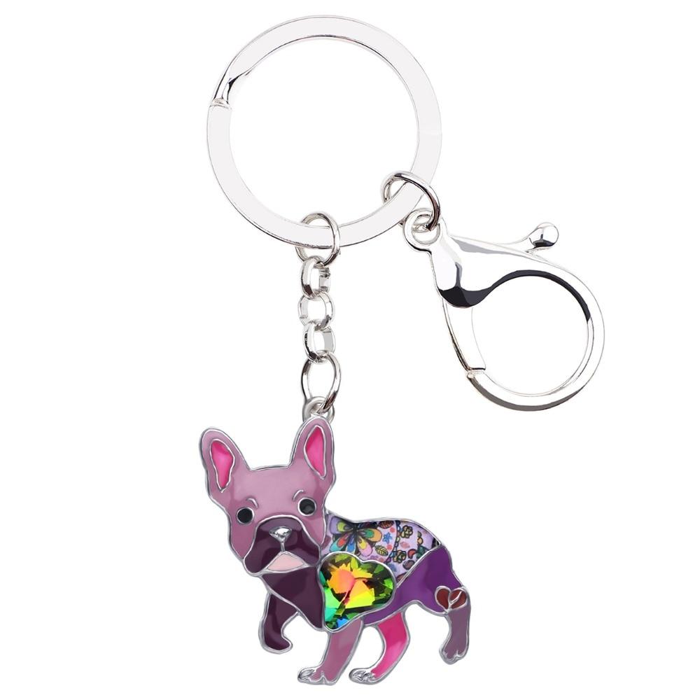 Enamel Alloy Crystal French Bulldog Pug Dog Keychain Jewelry For Women Bag Gifts