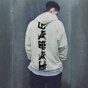 Image 4 - 2019 jesień zima bluzy z kapturem moda Hip Hop nakrycia głowy bluzy Kanji drukuj bluzy z kapturem bluzy rozmiar Us