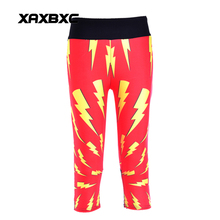 NEW 1098 Sexy Girl Women comics The Flash 3D Prints Workout Fitness Elastic Cropped Trousers Leggings