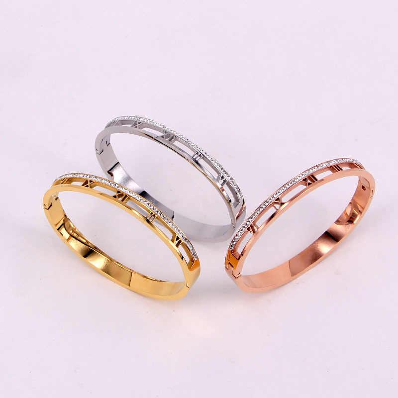 Beste verkaufende klassische design elegante hohl Römischen ziffern kristall armband und edelstahl schmuck armband für frauen