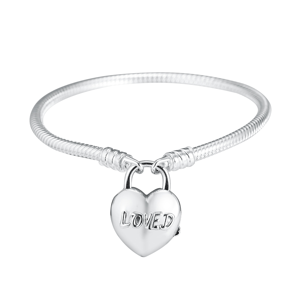 Bracelet You Are Loved Heart Padlock Clasps 100 925 Sterling Silver Beads Charm Bracelets for Women
