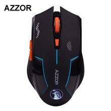 Slient Botão Computer Gaming 1600 DPI AZZOR Mouse Sem Fio Recarregável Embutida Bateria com Cabo de Carregamento Para PC Portátil