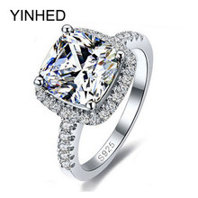 YINHED 100% 925 Sterling Silver Ring Jewelry Stamped S925 Big 4 Carat CZ Diamant Wedding Rings For Women SIZE 5 6 7 8 9 10 Z001(China)