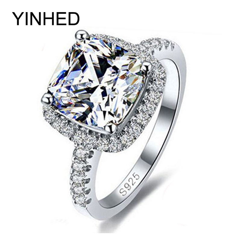 YINHED 100% 925 Sterling Silver Ring Jewelry Stamped S925 Big 4 Carat CZ Diamant Wedding ...